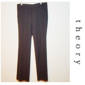 Theory Black Pinstriped Trouser Pants 10
